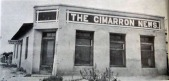 Cimarron News was constructed of adobe and stucco In 1919 by Roscoe Thomas, then publisher. The plant occupied this building until 1938, when It was moved to Its location on West Main Street. The old building was dismantled that year to make way for the Cox Farm Equipment Company's present place of business of Sanders Town & Country.